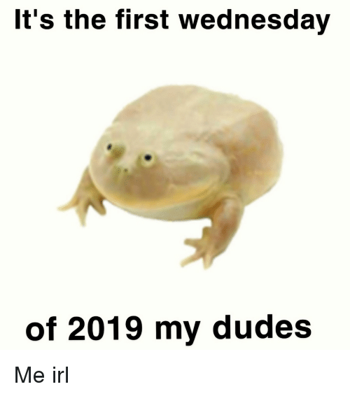 My Dudes: It's the first wednesday  of 2019 my dudes Me irl