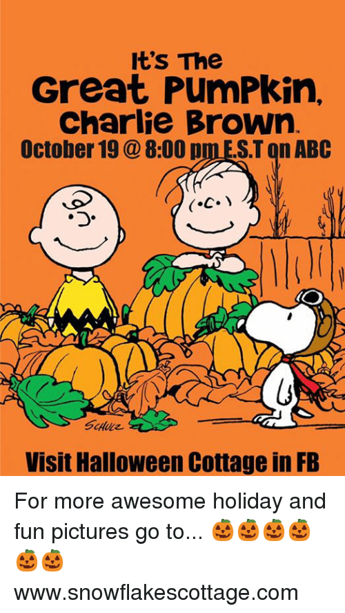it's the great pumpkin charlie brown: It's The  Great PumPkin,  Charlie Brown  October 19 8:00 p  ST on ABC  Visit Halloween Cottage in FB For more awesome holiday and fun pictures go to... 🎃🎃🎃🎃🎃🎃www.snowflakescottage.com