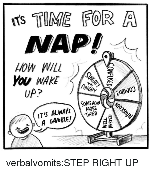 Tumblr, Blog, and Http: ITS TIME FOR A  NAP!  LOW WILL  ANGRY  UP?  i0aW0)  SOMEHOW  MORE verbalvomits:STEP RIGHT UP