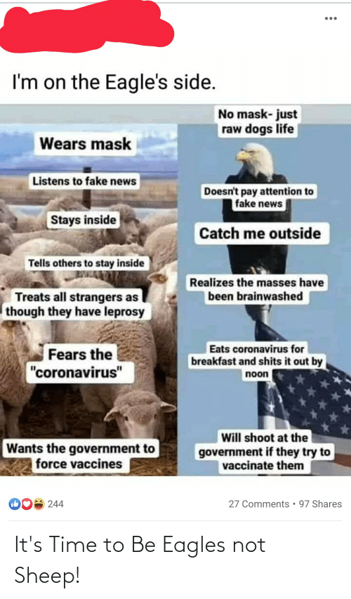 it's time: It's Time to Be Eagles not Sheep!