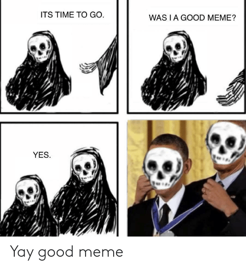 Meme, Good, and Time: ITS TIME TO GO  WAS I A GOOD MEME?  YES. Yay good meme