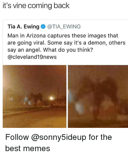 Memes, Vine, and Angel: it's vine coming back  Tia A. Ewing @TIA EWING  Man in Arizona captures these images that  are going viral. Some say it's a demon, others  say an angel. What do you think?  @cleveland19news Follow @sonny5ideup for the best memes