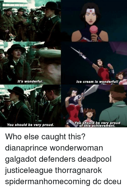 Memes, Deadpool, and Ice Cream: It's wonderful.  Ice cream is wonderfull  You should be very proud  You should be very proud.  of this achievorment. Who else caught this? dianaprince wonderwoman galgadot defenders deadpool justiceleague thorragnarok spidermanhomecoming dc dceu