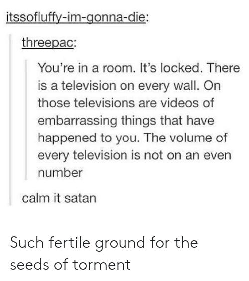 televisions: itssofluffy-im-gonna-die:  threepac:  You're in a room. It's locked. There  is a television on every wall. On  those televisions are videos of  embarrassing things that have  happened to you. The volume of  every television is not on an even  number  calm it satan Such fertile ground for the seeds of torment