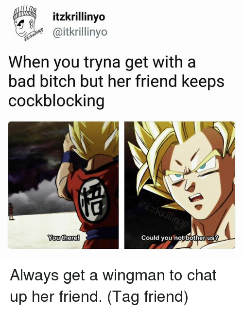Could You Not: itzkrillinyo  @itkrillinyo  When you tryna get with a  bad bitch but her friend keeps  cockblocking  outhere  Could you not bother us? Always get a wingman to chat up her friend. (Tag friend)