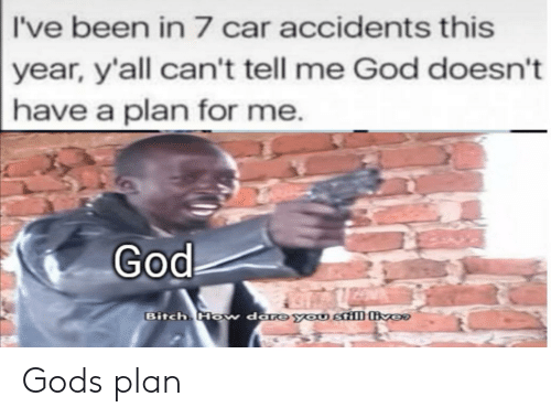 Have A Plan: I've been in 7 car accidents this  year, y'all can't tell me God doesn't  have a plan for me.  God  Bitch Ho  w dare you still ver Gods plan