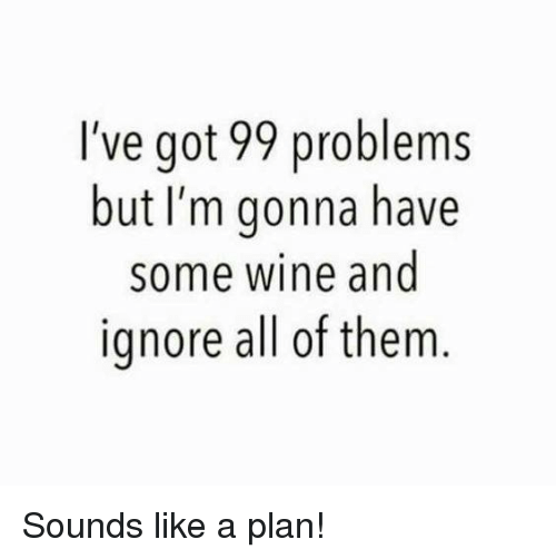99 Problems, Memes, and Wine: I've got 99 problems  but I'm gonna have  some wine and  ignore all of them Sounds like a plan!