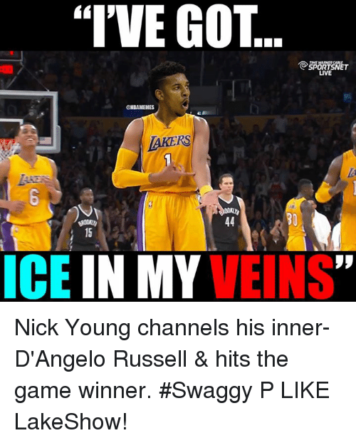 "Swaggy: ""I'VE GOT  SPOR  LIVE  @NBAMEMES  LAKERS  ICE  IN MY  VEINS Nick Young channels his inner-D'Angelo Russell & hits the game winner. #Swaggy P LIKE LakeShow!"