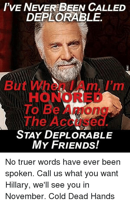 Friends, Memes, and Cold: I'VE NEVER BEEN CALLED  DEPLORABLE.  O Be  STAY DEPLORABLE  MY FRIENDS! No truer words have ever been spoken. Call us what you want Hillary, we'll see you in November.  Cold Dead Hands