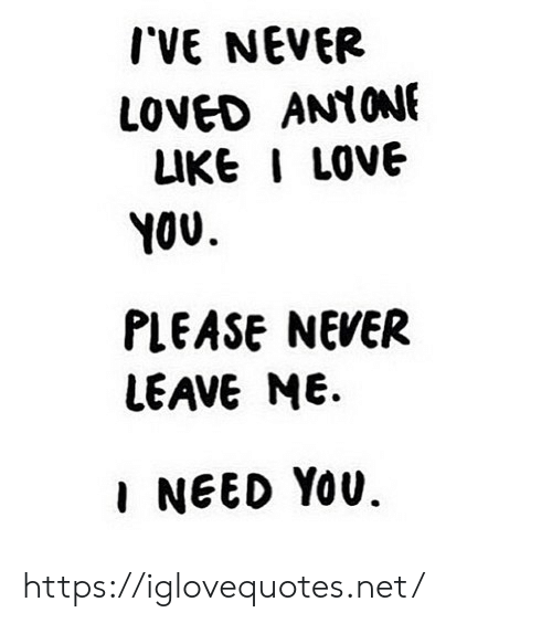 Love, I Love You, and Never: I'VE NEVER  LOVED ANIONE  LIKE I LOVE  YOU  PLEASE NEVER  LEAVE ME.  I NEED You. https://iglovequotes.net/