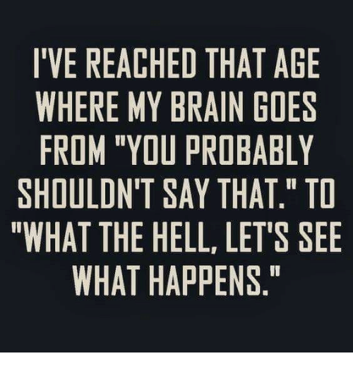 "Dank, Brain, and Hell: I'VE REACHED THAT AGE  WHERE MY BRAIN GOES  FROM ""YOU PROBABLY  SHOULDN'T SAY THAT."" TO  ""WHAT THE HELL, LET'S SEE  WHAT HAPPENS."""