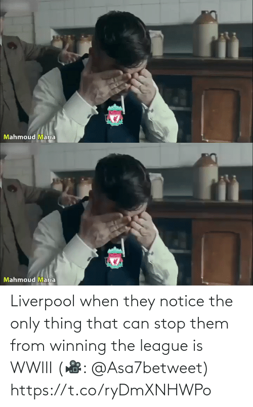 the-only-thing: IVER  Mahmoud Maria   Mahmoud Maria Liverpool when they notice the only thing that can stop them from winning the league is WWIII (🎥: @Asa7betweet)  https://t.co/ryDmXNHWPo