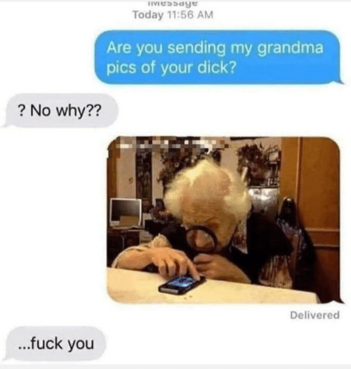Grandma: IVessage  Today 11:56 AM  Are you sending my grandma  pics of your dick?  ? No why??  Delivered  .fuck you