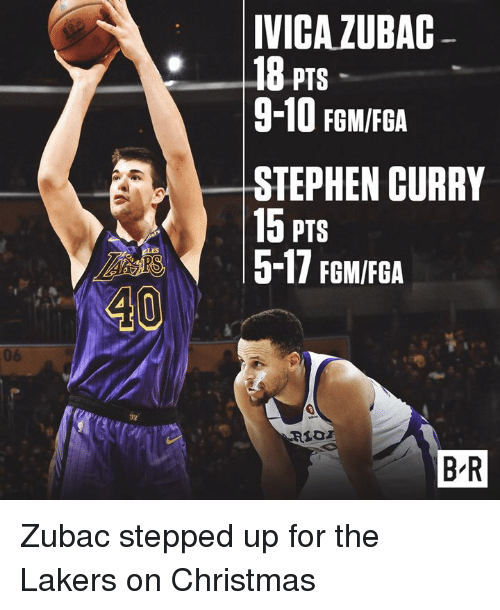 Christmas, Los Angeles Lakers, and Stephen: IVICA ZUBAC  18 PTS  9-10 FGMFGA  STEPHEN CURRY  15 PTs  5-17 FGMIFGA  )) ,118,  40  LES  06  D2  O2  B R Zubac stepped up for the Lakers on Christmas