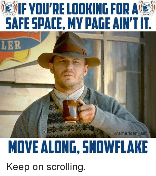 Memes, American, and Space: IVOU RE LOOKING FOR A  SAFE SPACE, MY PAGE AIN'TIT  LER  @american asf  MOVE ALONG, SNOWFLAKE Keep on scrolling.