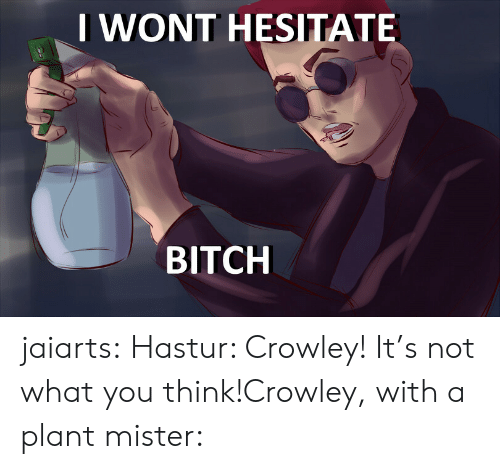 crowley: IWONT HESITATE  BITCH jaiarts:  Hastur: Crowley! It's not what you think!Crowley, with a plant mister: