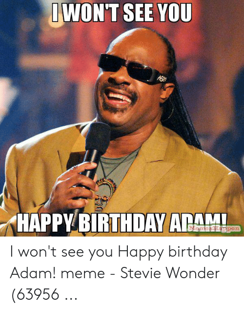 Birthday Adam: IWON'T SEE YOU  HAPPY BIRTHDAY ADAM  MenesHappen I won't see you Happy birthday Adam! meme - Stevie Wonder (63956 ...