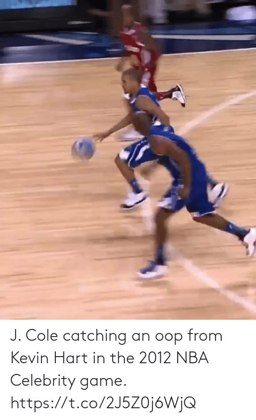 Catching: J. Cole catching an oop from Kevin Hart in the 2012 NBA Celebrity game.   https://t.co/2J5Z0j6WjQ