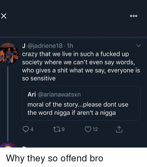 Crazy, Funny, and Shit: J @jadriene18 1h  crazy that we live in such a fucked up  society where we can't even say words,  who gives a shit what we say, everyone is  so sensitive  Ari @arianawatsxn  moral of the story...please dont use  the word nigga if aren't a nigga Why they so offend bro