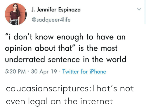"Internet, Iphone, and Tumblr: J. Jennifer Espinoza  @sadqueer4life  ""i don't know enough to have arn  opinion about that"" is the most  underrated sentence in the world  5:20 PM 30 Apr 19 Twitter for iPhone caucasianscriptures:That's not even legal on the internet"