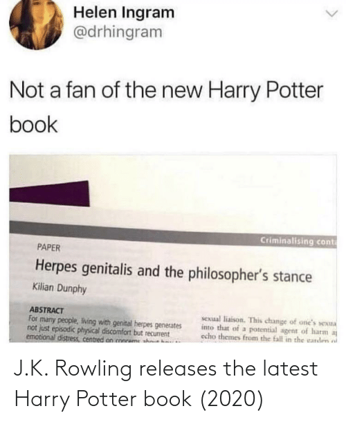 J: J.K. Rowling releases the latest Harry Potter book (2020)
