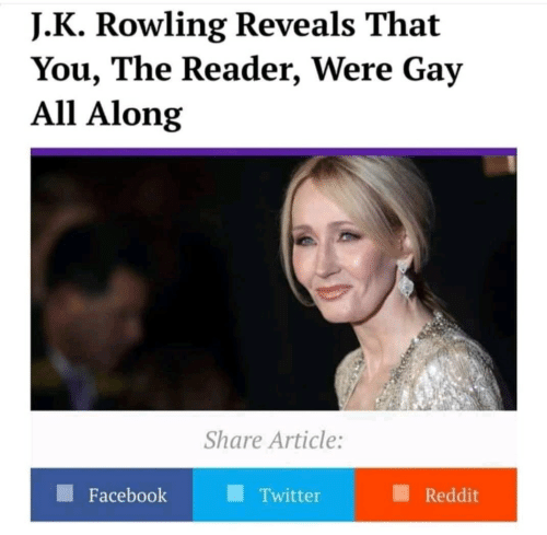 J. K. Rowling: J. K Rowling Reveals That  You, The Reader, Were Gay  All Along  Share Article:  Facebook  Twitter  Reddit