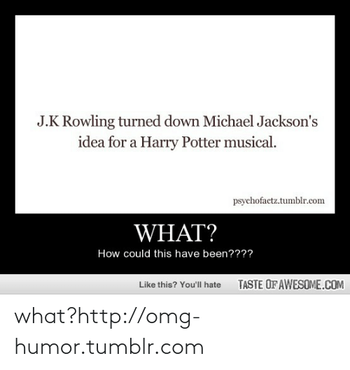 Michael Jacksons: J.K Rowling turned down Michael Jackson's  idea for a Harry Potter musical.  psychofactz.tumblr.com  WHAT?  How could this have been????  TASTE OF AWESOME.COM  Like this? You'll hate what?http://omg-humor.tumblr.com