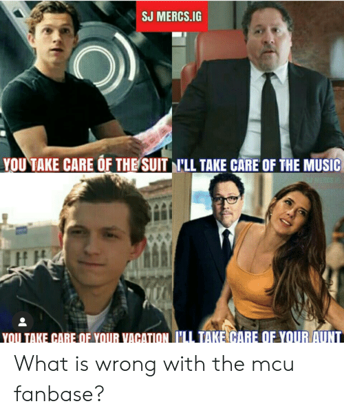 Music, Vacation, and What Is: J MERCS.IG  YOU TAKE CARE OF THE SUIT LL TAKE CARE OF THE MUSIC  U MERCS 1  YOU TAKE CARE QF YOUR VACATION I'LL TAKE CARE OF YOUR AUNT What is wrong with the mcu fanbase?