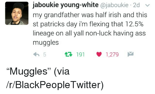 """Ass, Blackpeopletwitter, and Irish: jaboukie young-white @jaboukie 2d v  my grandfather was half irish and this  st patricks day i'm flexing that 12.5%  lineage on all yall non-luck having ass  muggles  191 1,279 <p>""""Muggles"""" (via /r/BlackPeopleTwitter)</p>"""