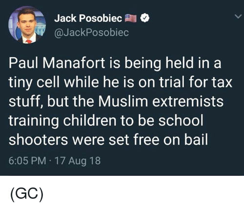 Children, Memes, and Muslim: Jack Posobiec  @JackPosobiec  Paul Manafort is being held in a  tiny cell while he is on trial for tax  stuff, but the Muslim extremists  training children to be school  shooters were set free on bail  6:05 PM 17 Aug 18 (GC)