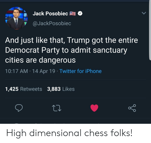 Dimensional Chess: Jack Posobiec o  y@JackPosobiec  And just like that, Trump got the entire  Democrat Party to admit sanctuary  cities are dangerous  10:17 AM 14 Apr 19 Twitter for iPhone  1,425 Retweets 3,883 Likes High dimensional chess folks!