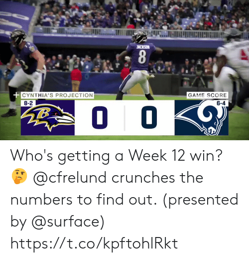 Memes, Game, and 🤖: JACKSON  CYNTHIA'S PROJECTION  GAME SCORE  8-2  6-4  O 0 Who's getting a Week 12 win? 🤔  @cfrelund crunches the numbers to find out. (presented by @surface) https://t.co/kpftohlRkt