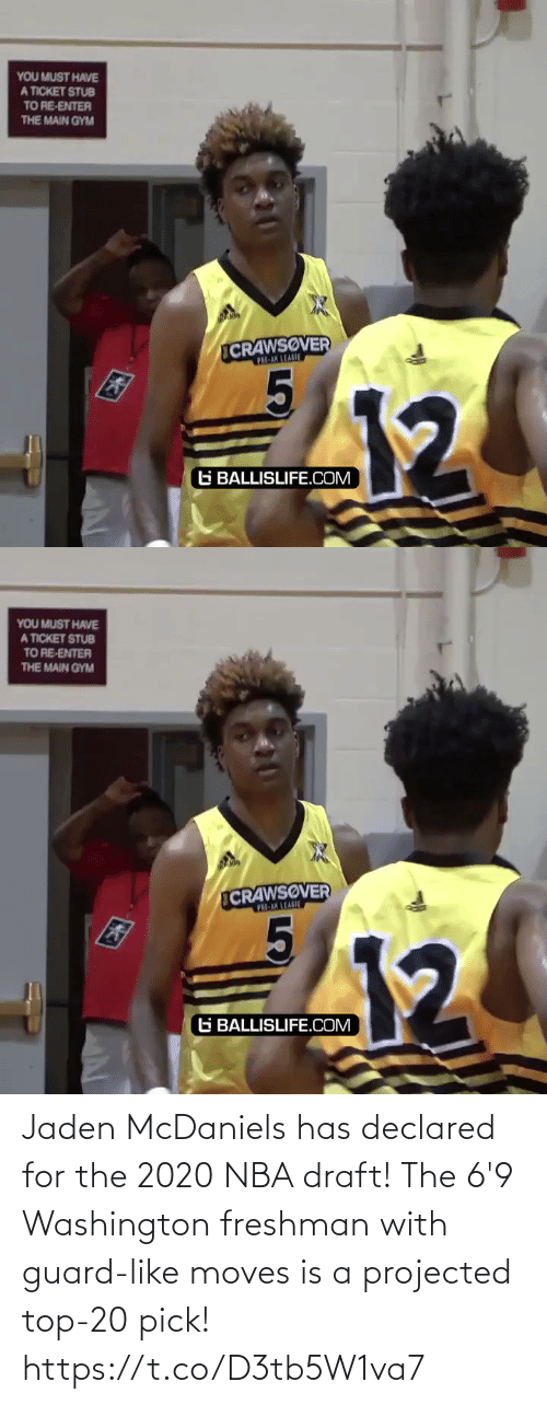 washington: Jaden McDaniels has declared for the 2020 NBA draft! The 6'9 Washington freshman with guard-like moves is a projected top-20 pick! https://t.co/D3tb5W1va7