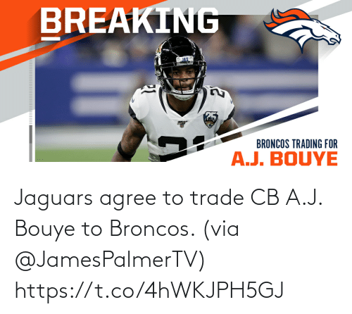 J: Jaguars agree to trade CB A.J. Bouye to Broncos. (via @JamesPalmerTV) https://t.co/4hWKJPH5GJ