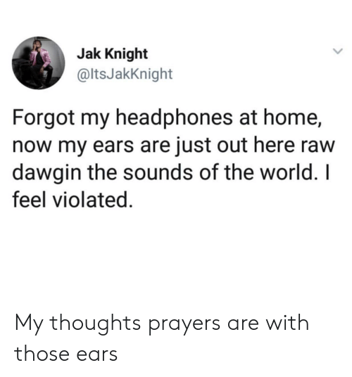 the sounds: Jak Knight  @ltsJakKnight  Forgot my headphones at home,  now my ears are just out here raw  dawgin the sounds of the world. I  feel violated. My thoughts  prayers are with those ears