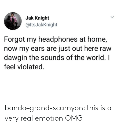 the sounds: Jak Knight  @ltsJakKnight  Forgot my headphones at home,  now my ears are just out here raw  dawgin the sounds of the world. I  feel violated. bando–grand-scamyon:This is a very real emotion  OMG
