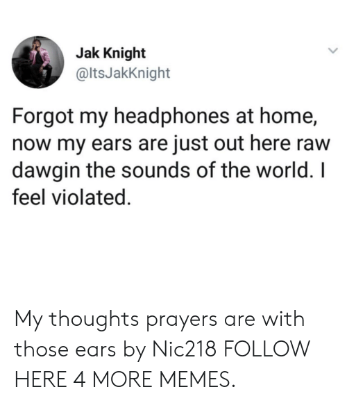 the sounds: Jak Knight  @ltsJakKnight  Forgot my headphones at home,  now my ears are just out here raw  dawgin the sounds of the world. I  feel violated. My thoughts  prayers are with those ears by Nic218 FOLLOW HERE 4 MORE MEMES.