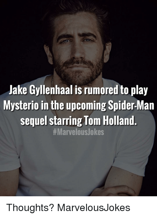 Jake Gyllenhaal, Memes, and Spider: Jake Gyllenhaal is rumored to play  Mysterio in the upcoming Spider-Man  sequel starring Tom Holland  Thoughts? MarvelousJokes