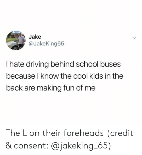 Driving, School, and Cool: Jake  @JakeKing65  I hate driving behind school buses  because l know the cool kids in the  back are making fun of me The L on their foreheads (credit & consent: @jakeking_65)