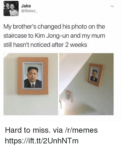 Kim Jong-Un, Memes, and Brothers: Jake  @Slatez  My brother's changed his photo on the  staircase to Kim Jong-un and my mum  still hasn't noticed after 2 weeks Hard to miss. via /r/memes https://ift.tt/2UnhNTm