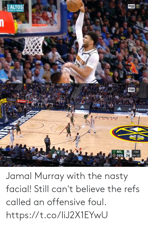 nasty: Jamal Murray with the nasty facial! Still can't believe the refs called an offensive foul. https://t.co/IiJ2X1EYwU