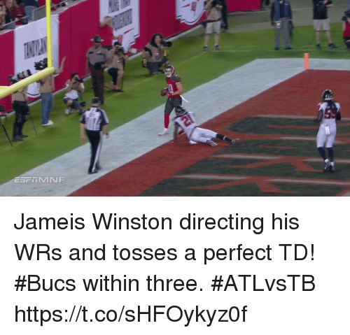 Jameis Winston, Memes, and 🤖: Jameis Winston directing his WRs and tosses a perfect TD!  #Bucs within three. #ATLvsTB https://t.co/sHFOykyz0f