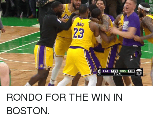 Boston, Eos, and James: JAMES  23  1291 EOS 128  FINAL RONDO FOR THE WIN IN BOSTON.