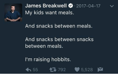 Kids, Humans of Tumblr, and James: James Breakwell 2017-04-17  My kids want meals.  And snacks between meals.  And snacks between snacks  between meals.  I'm raising hobbits.  55 792 5,528