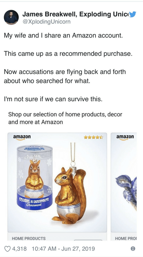 Amazon, Home, and Squirrel: James Breakwell, Exploding Unic  @XplodingUnicorn  My wife and I share an Amazon account.  This came up as a recommended purchase  Now accusations are flying back and forth  about who searched for what.  I'm not sure if we can survive this.  Shop our selection of home products, decor  and more at Amazon  amazon  amazon  UN  Andhis MetRe  SQUIRREL IN UNDERDANTS  Оннатеd  OARCHE MPHEE  HOME PRO  HOME PRODUCTS  4,318  10:47 AM Jun 27, 2019