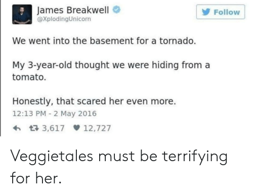 Tornado: James Breakwell  XplodingUnicorn  Follow  We went into the basement for a tornado.  My 3-year-old thought we were hiding from a  tomato.  Honestly, that scared her even more.  12:13 PM 2 May 2016  3,617 12,727 Veggietales must be terrifying for her.