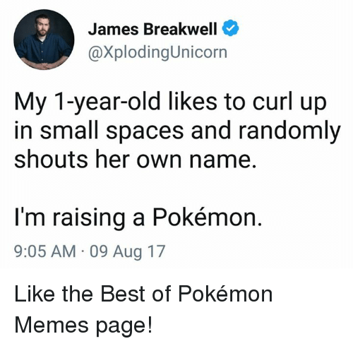 Funny, Memes, and Pokemon: James Breakwell  @XplodingUnicorn  My 1-year-old likes to curl up  in small spaces and randomly  shouts her own name.  I'm raising a Pokémon.  9:05 AM 09 Aug 17 Like the Best of Pokémon Memes page!