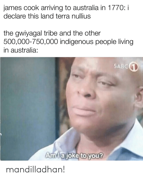 indigenous: james cook arriving to australia in 1770: i  declare this land terra nullius  the gwiyagal tribe and the other  500,000-750,000 indigenous people living  in australia:  SABC1  Amlajoke to you? mandilladhan!