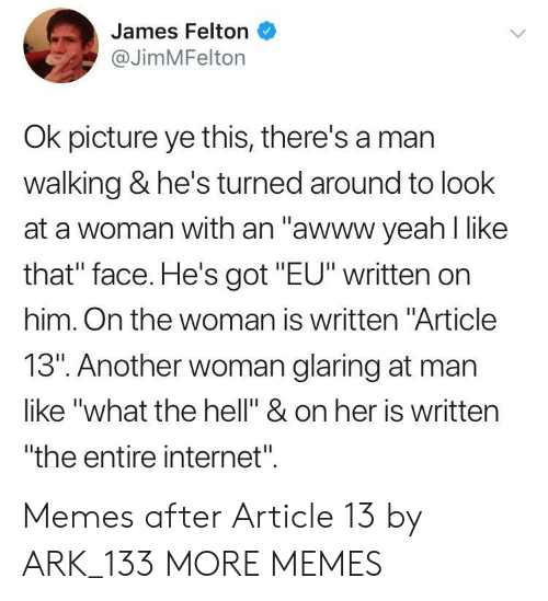 """Dank, Internet, and Memes: James Felton  @JimMFelton  Ok picture ye this, there's a mar  walking & he's turned around to look  at a woman with an """"awww yeah l like  that"""" face. He's got """"EU"""" written on  him. On the woman is written """"Article  13"""". Another woman glaring at man  like """"what the hell"""" & on her is written  """"the entire internet"""". Memes after Article 13 by ARK_133 MORE MEMES"""