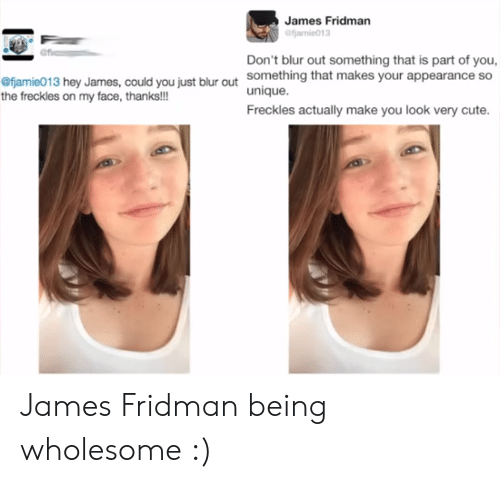 Fjamie013: James Fridman  Don't blur out something that is part of you,  something that makes your appearance so  unique.  Freckles actually make you look very cute.  fjamie013 hey James, could you just blur out  the freckles on my face, thanks!!! James Fridman being wholesome :)